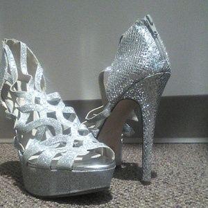 """4"""" W/zipper Silver Sparkling High Heels"""